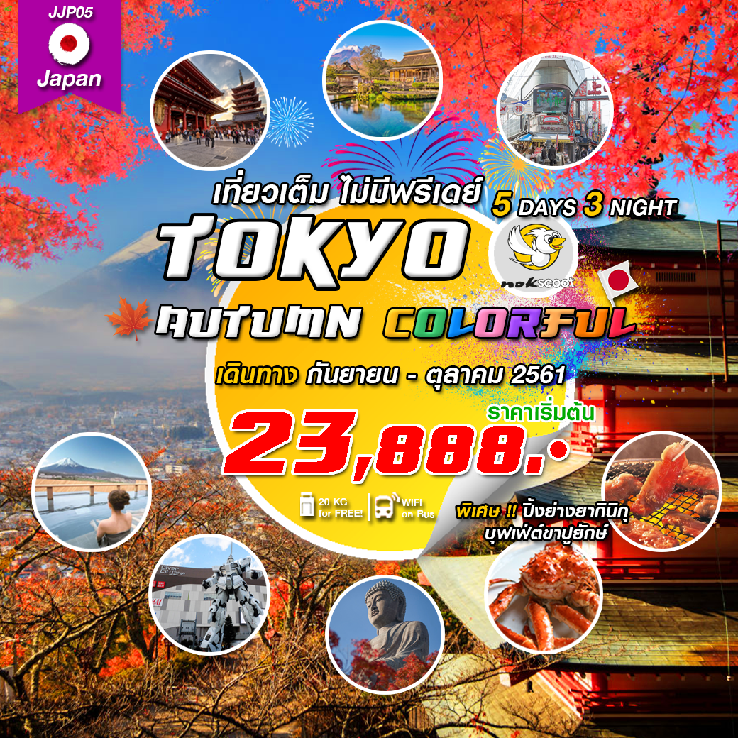 TOKYO AUTUMN COLORFUL เที่ยวเต็ม ไม่มีฟรีเดย์ 5วัน3คืน